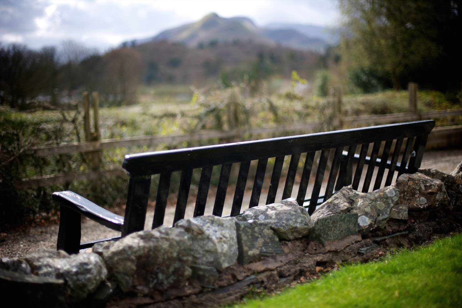 A bench with a stunning view looking down Borrowdale Valley