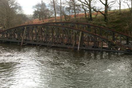 Iron railway bridge collapsed into the River Greta