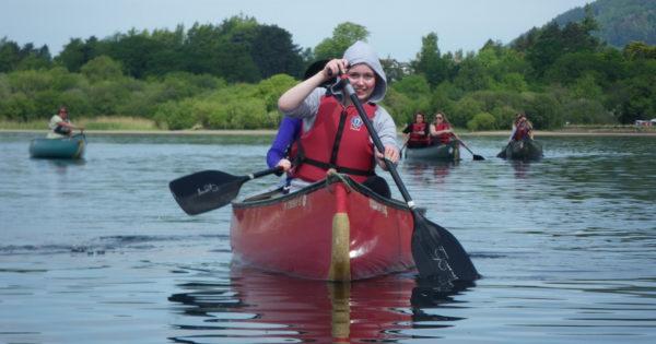 Pupils tandem canoeing on Derwent water