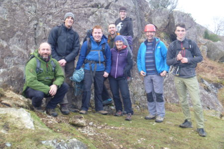 Derwent Hill staff at the base of crag