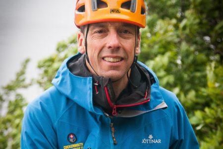 Neale wearing a climbing helmet